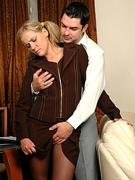 Unabashed secretary in barely black pantyhose getting banged in doggystyle pictures at lingerie-mania.com