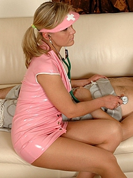 Randy nurse in barely visible tights seducing patient into hot fuck session pictures at freekiloclips.com