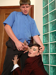 Luscious secretary in grey pantyhose surrenders to hot fucking on the floor pictures at freekilomovies.com