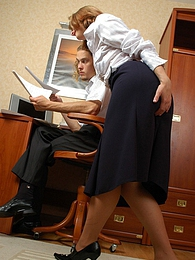 Breathtaking doggystyle fucking with sex-addicted secretary in lacy tights pics