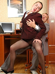 Curvy secretary in barely black tights getting her beaver licked and poked pics