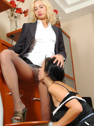 Lewd secretary in slight sheen hose satisfying her desires with French maid pictures