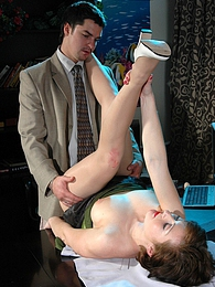 Sultry secretary in soft pantyhose playing with dildo before mighty dicking pictures at freekilosex.com