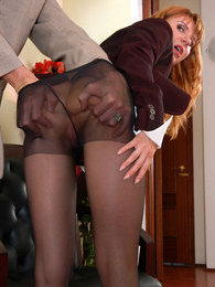 Nasty secretary in control top tights getting her twat ploughed from behind pictures at lingerie-mania.com