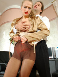 Lustful secretary spying upon kinky boss sniffing hose before jerking off pictures at find-best-lingerie.com