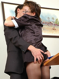 Nasty secretary in black hose getting her crotch licked before wild fucking pictures at freekilosex.com