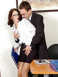 Mind-blowing fucking with irresistibly seductive secretary in nylon tights pictures at freekiloporn.com