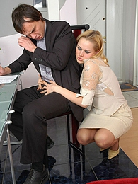 Blonde secretary in control top tights getting banged mercilessly on table pictures at kilosex.com