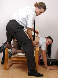 Hot secretary in black hose ready for dildotoying before suck-n-ride action pictures