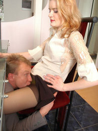 Voluptuous secretary can't work while getting her pantyhosed pussy licked pictures