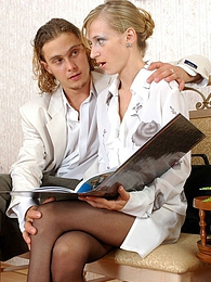 Well-hung guy jerking his dick staring at sexy secretary in black pantyhose pictures