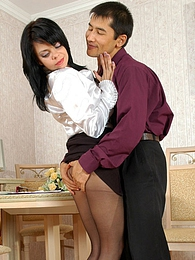Awesome secretary ready to tear her pantyhose for outrageous sex in office pictures at adipics.com
