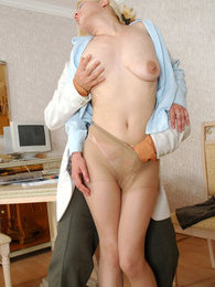 Voluptuous secretary in barely visible tights getting her muff rammed hard pictures