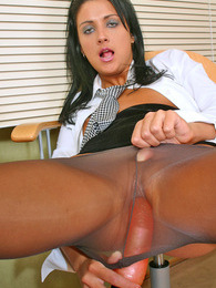 Lustful secretary dildoing her twat slipping into her control top pantyhose pictures at adipics.com