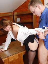 Curious secretary in black tights getting punished with doggystyle fucking pictures at freekiloporn.com