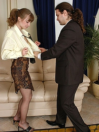 Lunch break ends up with doggystyle fucking for sexy secretary in lacy hose pictures at freekilomovies.com