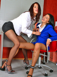 Raunchy secretary babes giving pussies a good licking through nylon tights pictures