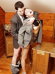 Freaky secretary surrenders to mind-blowing sex without taking off tights pictures at freekiloporn.com