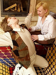 Lascivious secretary talking guy into mind-blowing pantyhose sex on floor pictures at freekilomovies.com