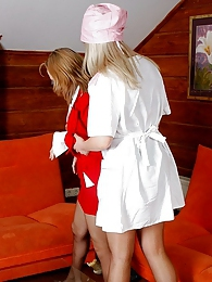 Filthy nurse treating sexy secretary with muff-diving through silky tights pictures at lingerie-mania.com