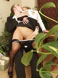 Extremely sexy secretary spreading her pantyhosed legs right on the table pictures at kilovideos.com