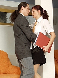 Voluptuous secretary having mind-blowing pantyhose sex right in the office pictures at freekilomovies.com