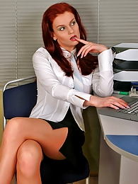 Nasty secretary babes in lacy tights getting down and dirty right in office pictures at kilosex.com