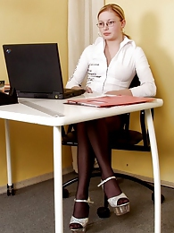 Sizzling hot secretary in black pantyhose getting to mind-blowing fucking pictures at adipics.com