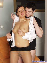 Smashing secretary in luxury pantyhose seducing guy into frantic fucking pictures at kilosex.com