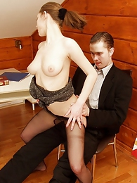 Lewd secretary pulling her barely black tights on her tits before wild sex pictures
