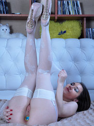 Pretty girl slips out of her robe for solo backdoor play in white stockings pictures at freekiloporn.com