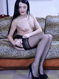 Sexy doll lovingly puts on barely black lacy nylons with a classy garter pictures at freekilopics.com