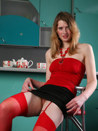 Bold chick wearing raunchy red stockings makes pussy spreads in the kitchen pictures at kilosex.com