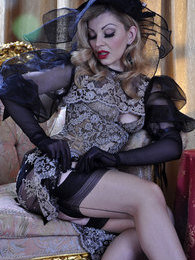 Fancily dressed lady shows off her elegant contrast top and seam stockings pictures at kilogirls.com