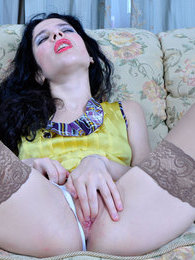 Smashing raven-head in suntan hold-up nylons rubbing her burning wet slit pictures