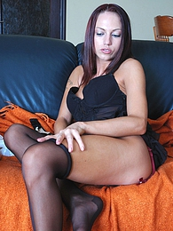 Cutie changes her black nylons for white ones admiring their fantastic feel pictures