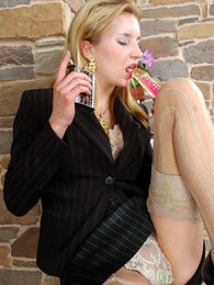 Blonde business lady in shiny elegant pantyhose diddling her yummy pussy pictures at find-best-lingerie.com