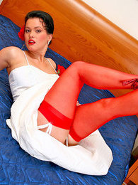 Shy bride in soft silky red stockings trying to hide her succulent pussy pictures at kilosex.com