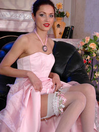 Raunchy bride in white plain-top stockings inserting her beloved sex toy pictures