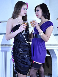 Hot lipstick lesbo in lacy stockings uses a strapon rod after a few drinks pictures at find-best-tits.com