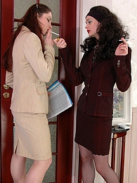 Office girls getting horny feeling their smooth nylons at a smoking break pictures