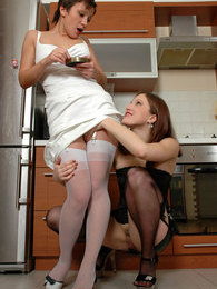 Sensual lesbi girlfriends clad in white and black stockings kissing it down pictures at sgirls.net
