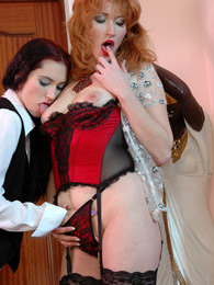 Frisky redhead in lace top stockings luring cute maid into lesbi making out pictures at kilopills.com