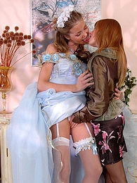 Naughty bride in white stockings tempting a bridesmaid to girl-on-girl sex pictures