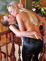 Lesbian blonde makes a brunette tongue kiss and lick her soaking wet pussy pictures at sgirls.net