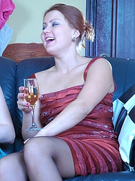 Fiery lesbian babes drinks some wine while savouring lez kissy-licky action pictures at kilopics.net