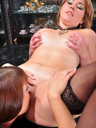 Dressed-up sappho takes advantage of a babe's soaking pussy in lez games pictures