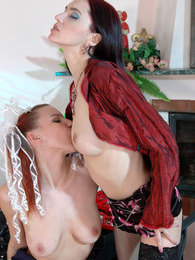 Lesbian teacher seducing a girl with deep French kisses and hot muff-diving pictures