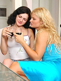 Awesome chicks drinking wine before uncovering the world of lesbian passion pics