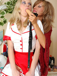 Lesbian maid spreads her love box for a strap-on cock aching to get a raise pictures at lingerie-mania.com